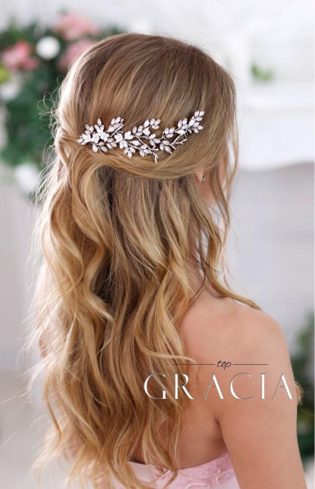 amaltheia flower crystal bridal hair comb - rhinestone wedding headpiece