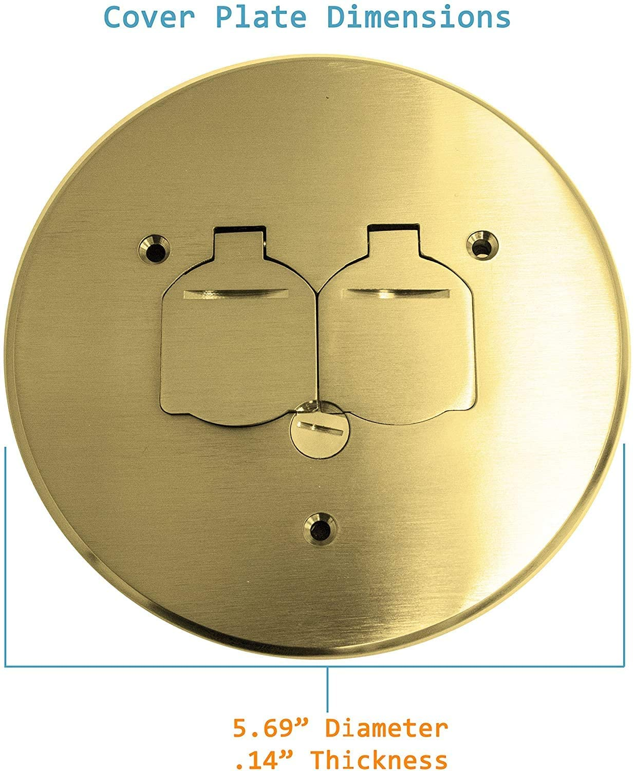 Floor Box Cover Plate : floor, cover, plate, 1-Gang, 5.75″, Round, Floor, Cover, Receptacle, Brass, TOPGREENER®