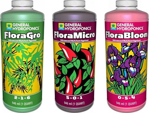 General Hydroponics Flora Grow, Bloom, Micro
