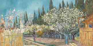 Orchard bordered by cypresses, April 1888