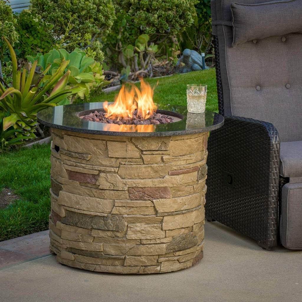 Christopher Knight Home 296658 Rogers Round Stone Fire Pit Table