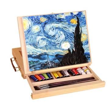 Display Artist Easel Adjustable Wood Desk Table Easel with Storage Drawer