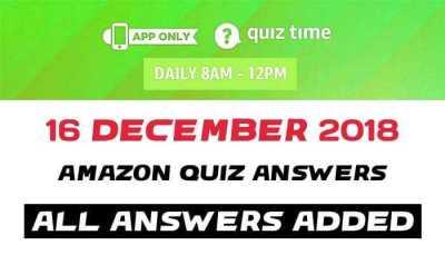 Amazon Quiz 16 december 2018 answers
