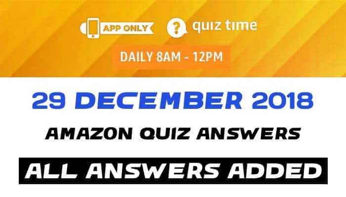Amazon Quiz 29 december 2018