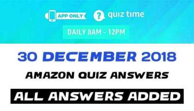 mazon Quiz 30 december 2018