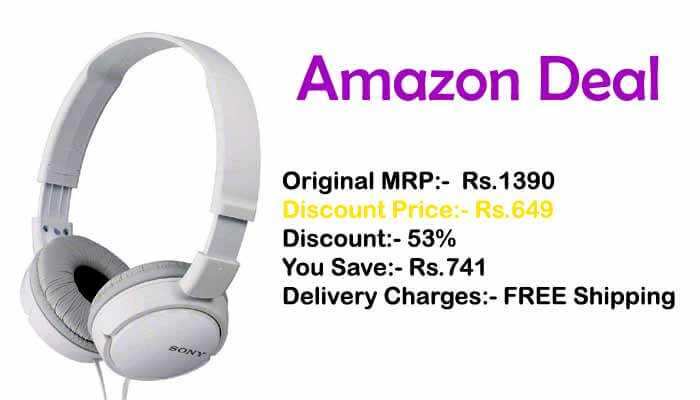 Sony Headphones On-Ear Stereo Just Rs.649