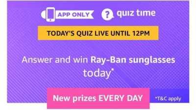Amazon Quiz, Amazon Quiz 9 March answers, Amazon Quiz Answers 9 March 2019, Ray-Ban Sunglasses Todays Answer, Ray-Ban Sunglasses quiz
