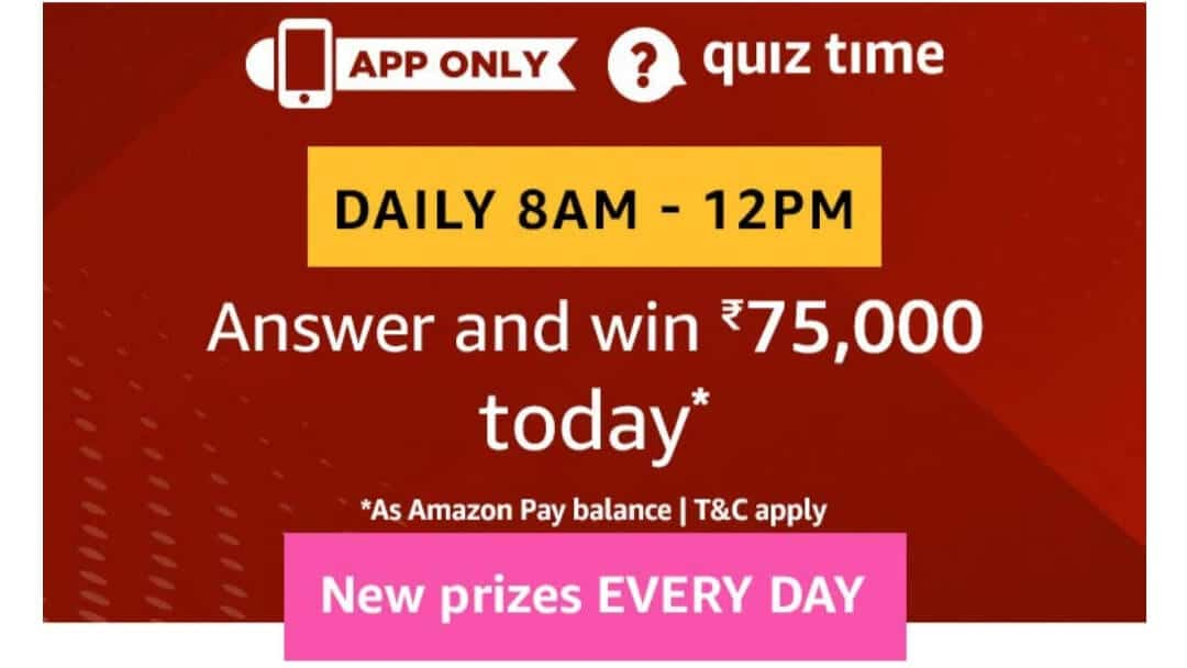 Amazon Quiz 15 March 2019 Answers - Rs.75000 Pay Balance