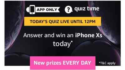 Amazon Quiz 7 April 2019 Answers - Win iphone Xs