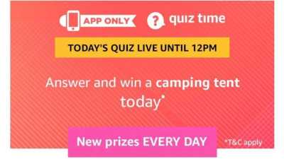 Amazon Quiz 16 April 2019 Answers - Win Camping Tent