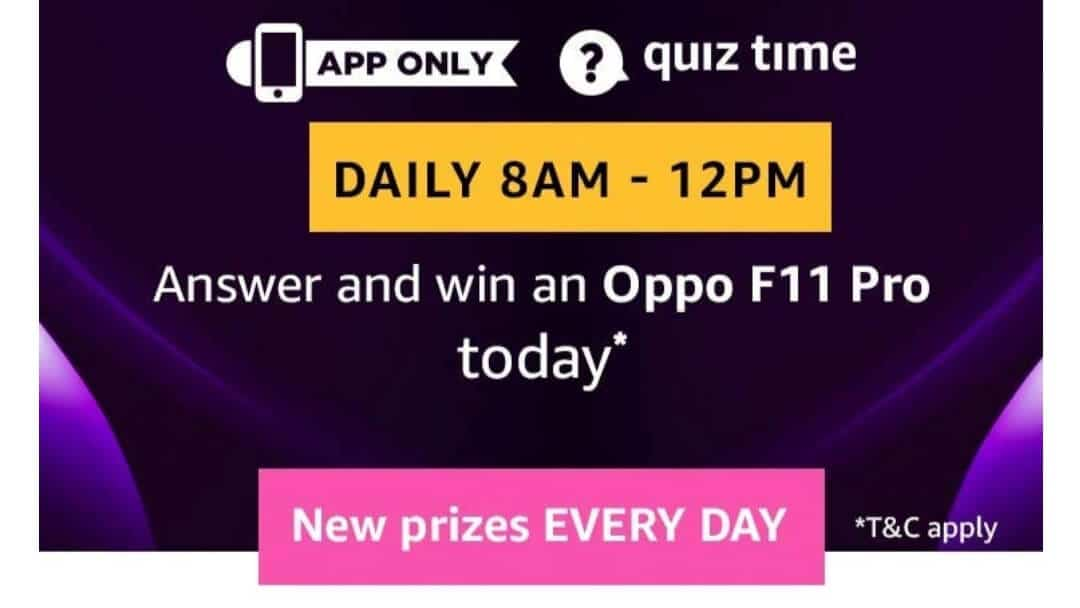 Amazon Quiz 22 May 2019 Answers - Oppo F11 Pro