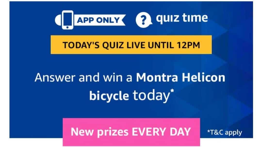 Amazon Quiz 18 June 2019 Answers - Montra Helicon Bicycle