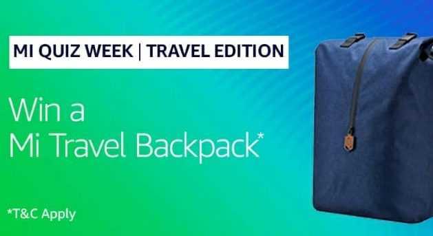 Amazon Mi Anniversary Quiz Answers - Mi Travel Backpack