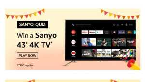 Amazon Sanyo Quiz Answers Win Sanyo 4K TV (7 Prizes) | TOPHUNT