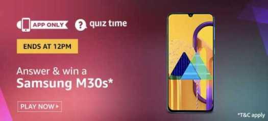 Amazon Quiz 8 January 2020 Answers Win - Samsung M30s