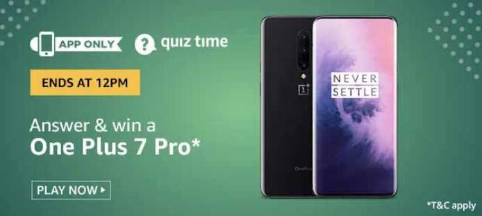 Amazon Quiz 16 February 2020 Answers Win - OnePlus 7 Pro