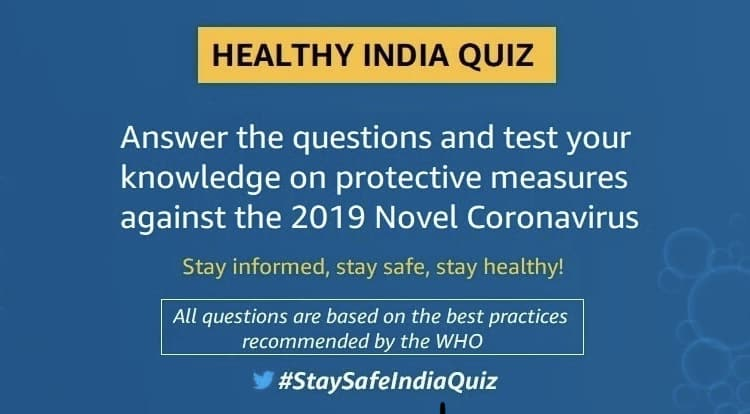 Amazon Healthy India Quiz Answers Win Against Covid 19