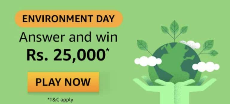 Amazon Environment Day Quiz Answers Win - Rs.25000
