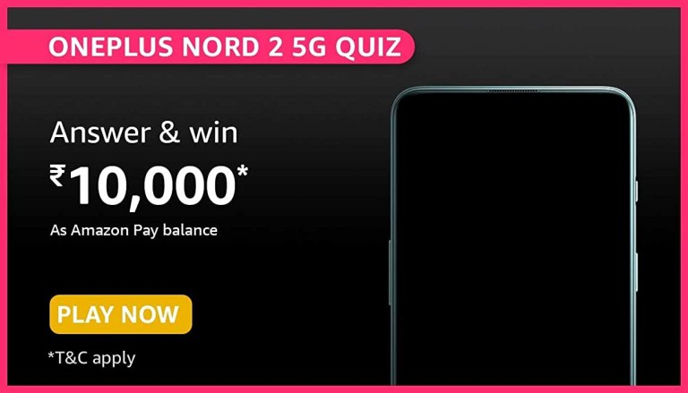 Amazon OnePlus Nord 2 5G Quiz Answers Win ₹10000
