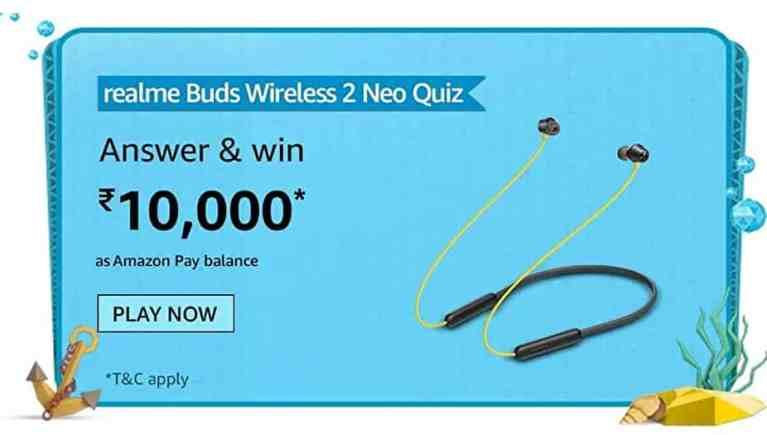 Amazon realme Buds wireless 2 Neo Quiz Answers For Today Win Prizes