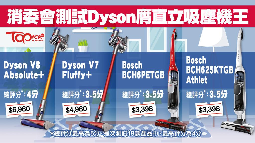 消委會吸塵機性能大比拼 Dyson V8直立吸塵機封王 - 香港經濟日報 - TOPick - 新聞 - 社會 - D180315