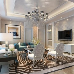Living Room Decorative Accessories Decor Designs Decorations Large Ceiling Chandelier Lamp With Hidden Cove Lighting Also Recessed Setup In Luxury Modern
