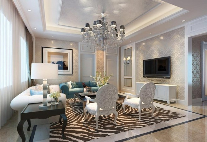 Decorations Accessories Living Room Large Ceiling Chandelier Lamp With Hidden Cove Lighting Also Recessed Setup In Luxury Modern Decor