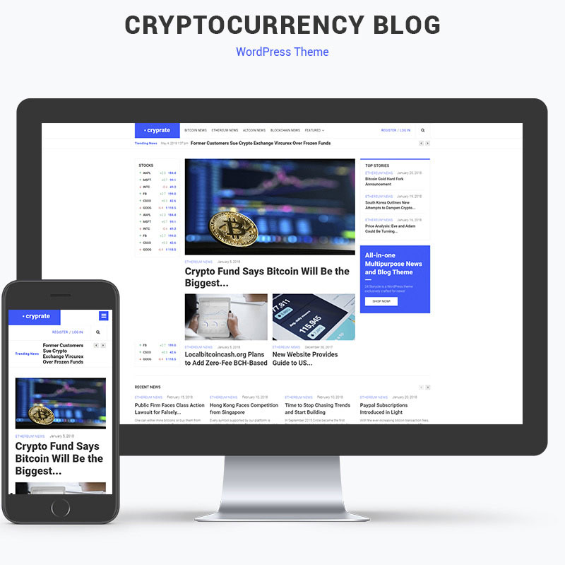 Cryptocurrency blog theme preview image made with WordPress and Elementor Builder