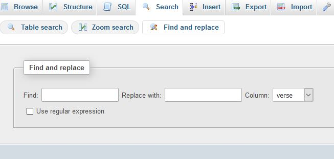 find and replace column interface in phpmyadmin screenshot