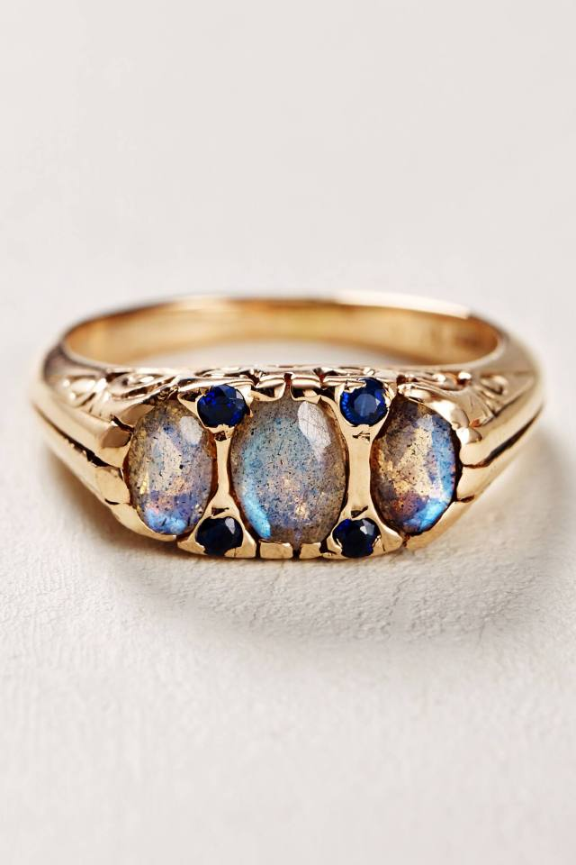 Labradorite and Sapphire Ring in 14k Rose Gold by Arik Kastan