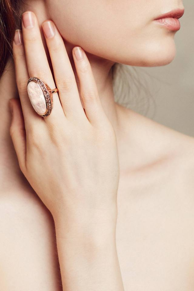 Moonstone and Labradorite Scepter Ring in 14k Rose Gold by Arik Kastan