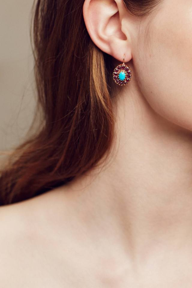 Turquoise and Ruby Nouveau Oval Drops in 14k Rose Gold by Arik Kastan