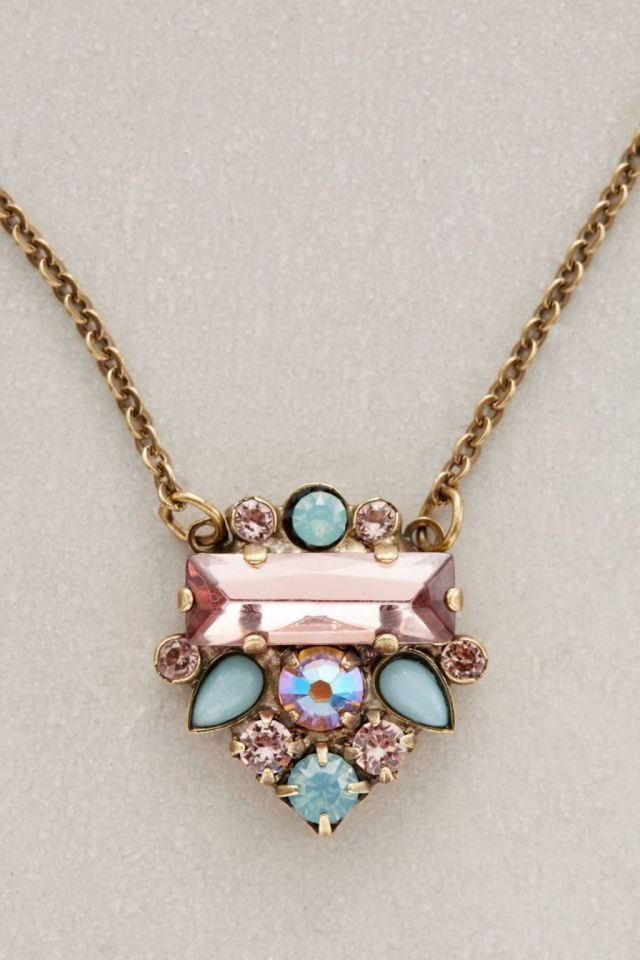 Anthropologie Glitzed Arrow Necklace in Pink