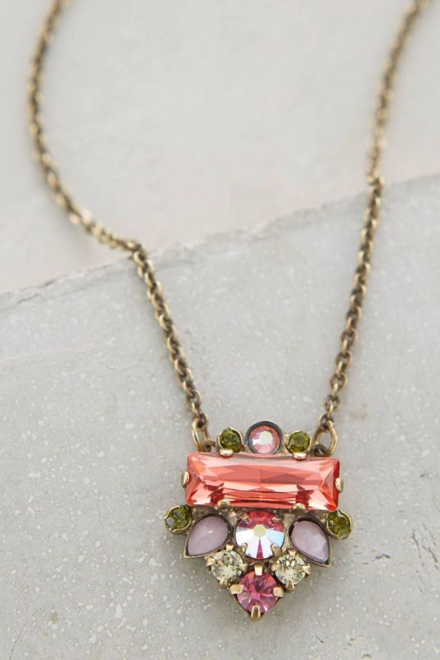 Anthropologie Glitzed Arrow Necklace in Lilac