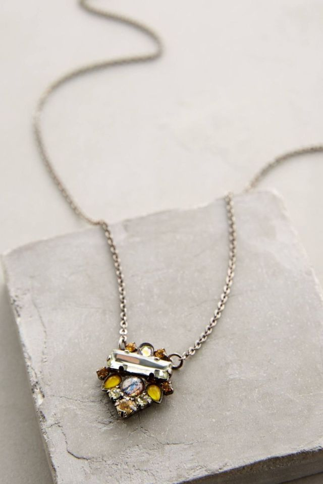 Anthropologie Glitzed Arrow Necklace in Yellow