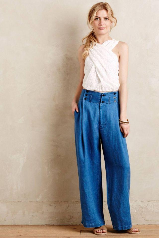 Buttoned-Up Linen Wide-Legs by Mes Demoiselles