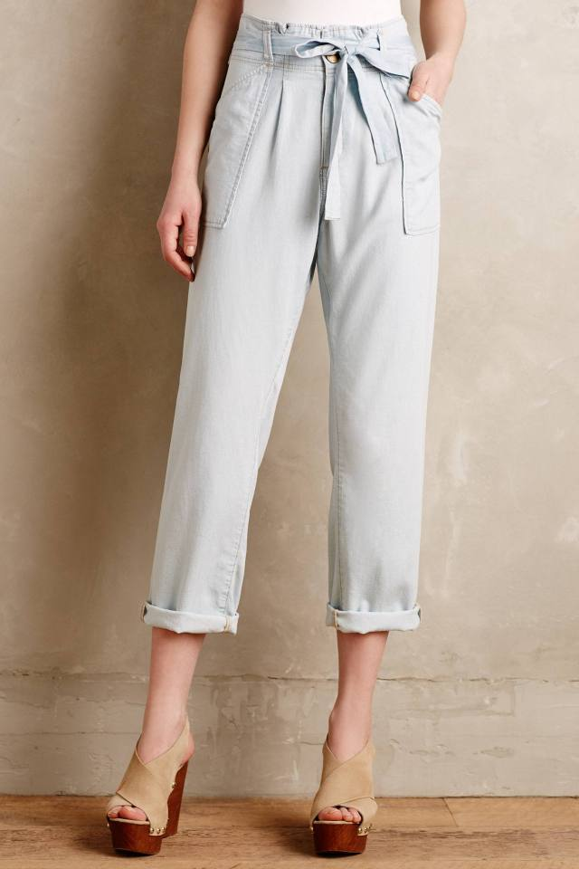 Chambray Paperbag Trousers by Current/Elliott