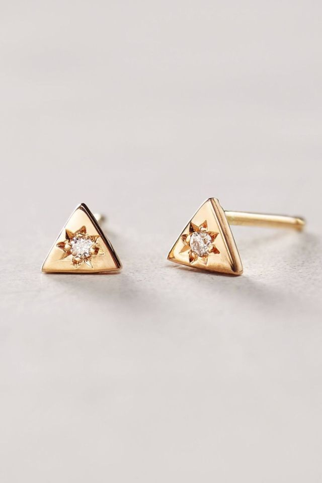 Diamond Mini Triangle Studs by Charlie and Marcelle