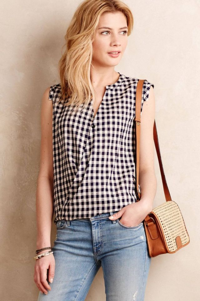 Draped Gingham Tank by Tyhlo
