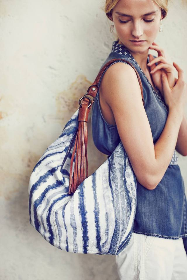Indigo-Brushed Hobo Bag by Tano