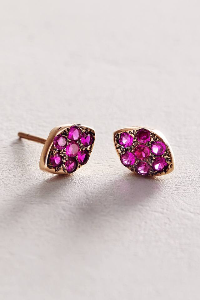 Zircon Marquis Studs in 14k Gold by Arik Kastan