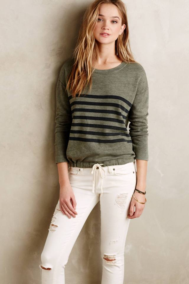 Cinched Stripe Sweatshirt by Sundry