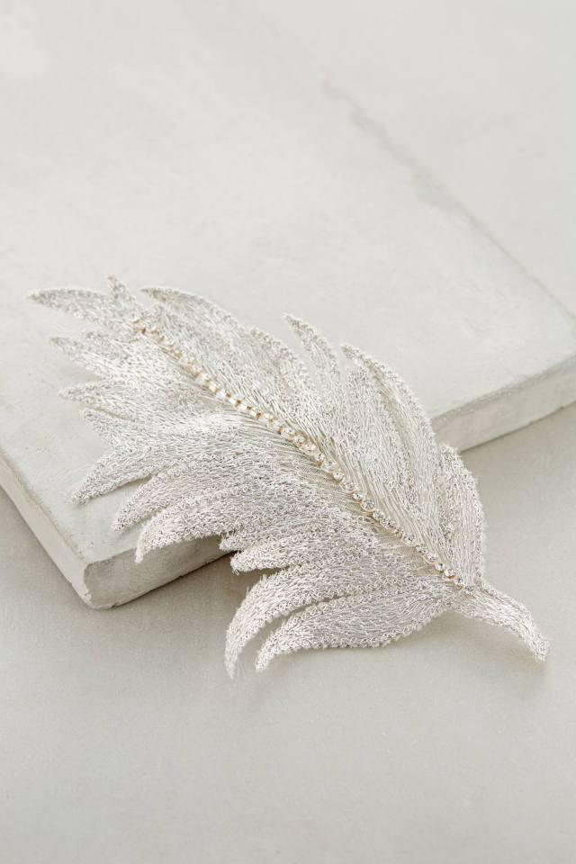 Embroidered Feather Hair Clip by Colette Malouf