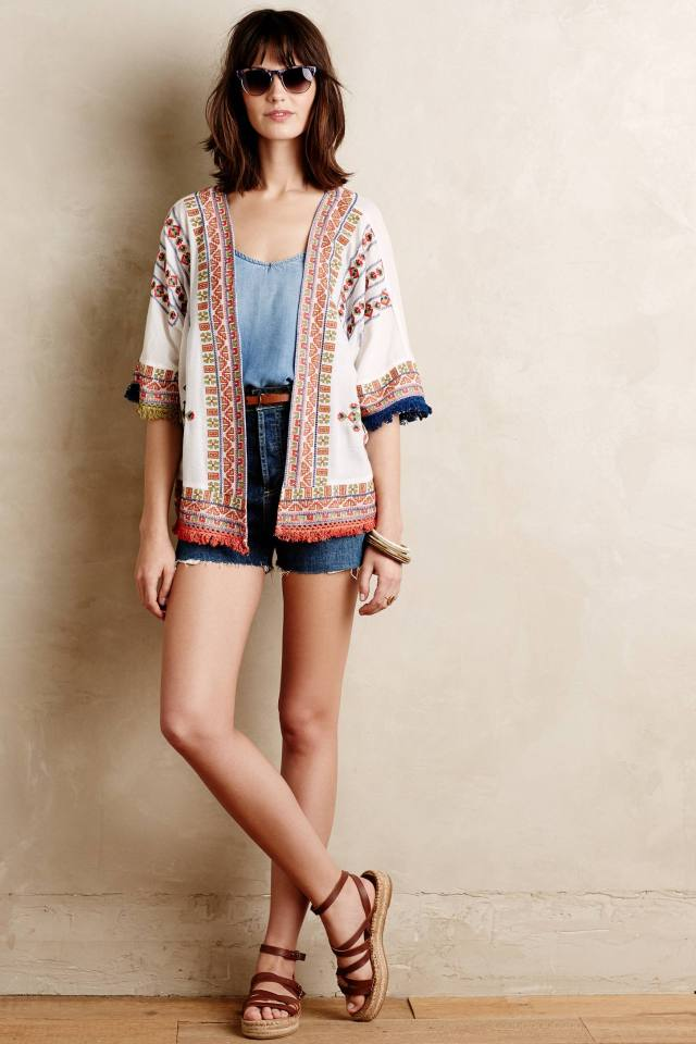 Fringed Desa Kimono by Velvet by Graham and Spencer