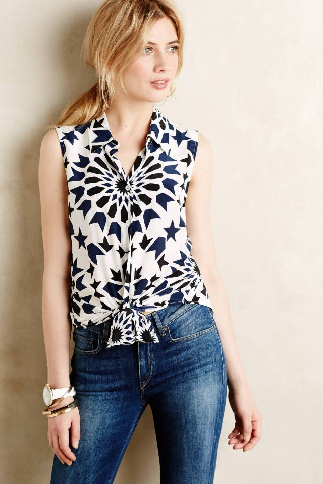 Pinwheel Sleeveless Buttondown by Equipment