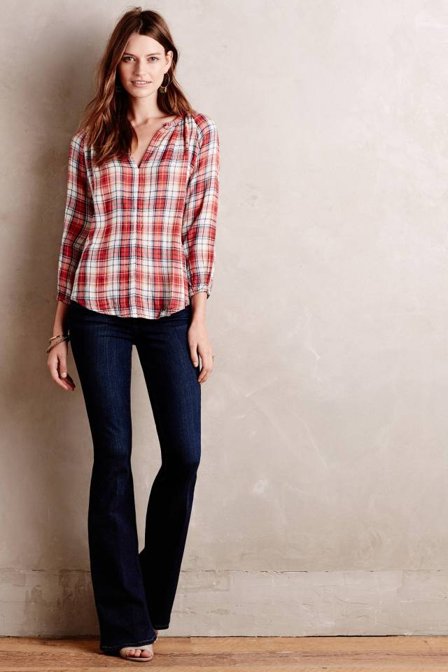 Autumn Plaid Henley Blouse by Velvet by Graham and Spencer