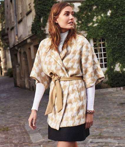 Houndstooth Wrap Coat by Elevenses