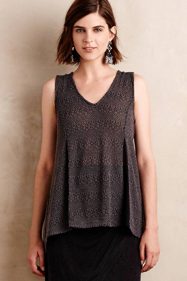 Chiffon-Spliced Tunic Tank by Ro & De