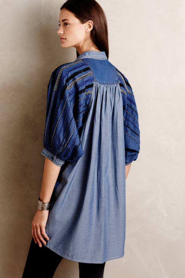 Embroidered Denim Tunic