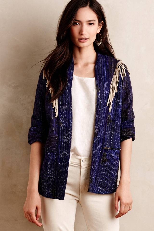 Fringed Epaulet Cardigan by Pepin